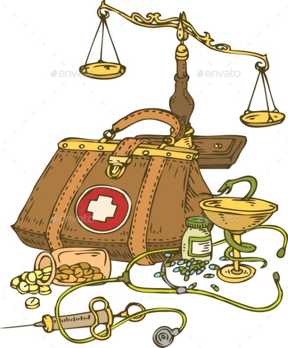 Composition with Medicine Symbols - Health/Medicine Conceptual