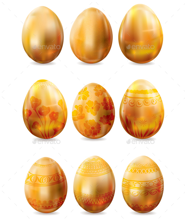 Set of Golden Easter Eggs - Decorative Symbols Decorative