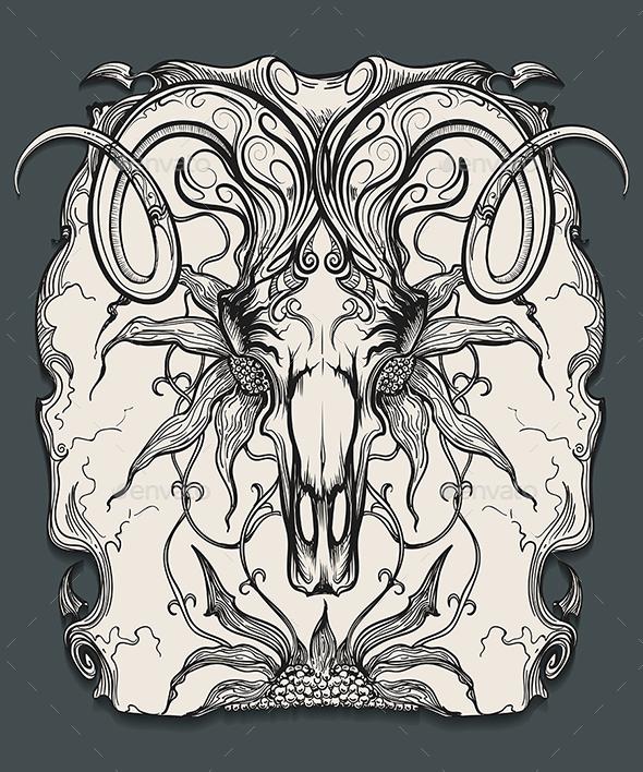 Ram Skull Engraving Illustration - Tattoos Vectors