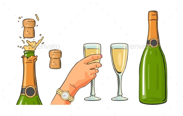 Bottle of Champagne Explosion and Hand Holding Glass - Food Objects