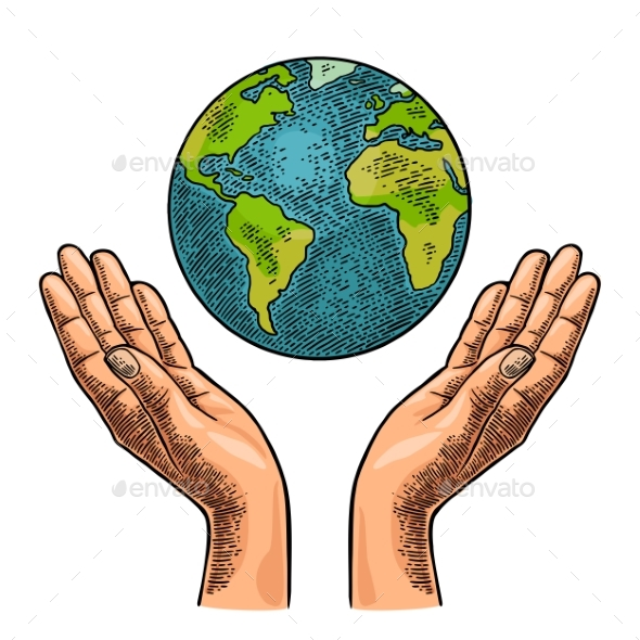 Earth Planet in Open Female Human Palms - Miscellaneous Vectors