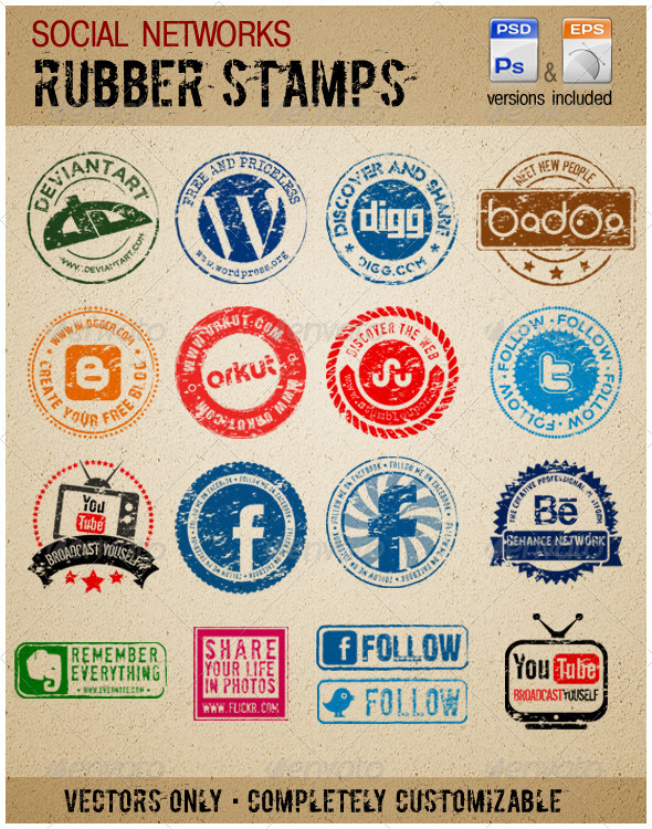 Social Media Rubber stamps - Social Media Web Elements