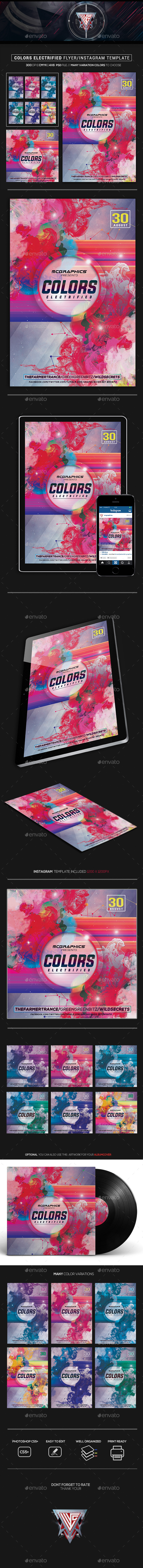 Colors Electrified Flyer/Instagram Template - Flyers Print Templates