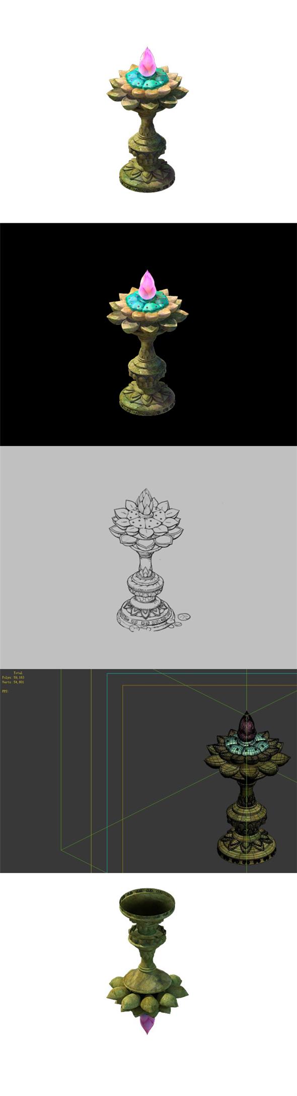 Game Model - Kaya Buddha Forest Buddha lights Jinlian - 3DOcean Item for Sale