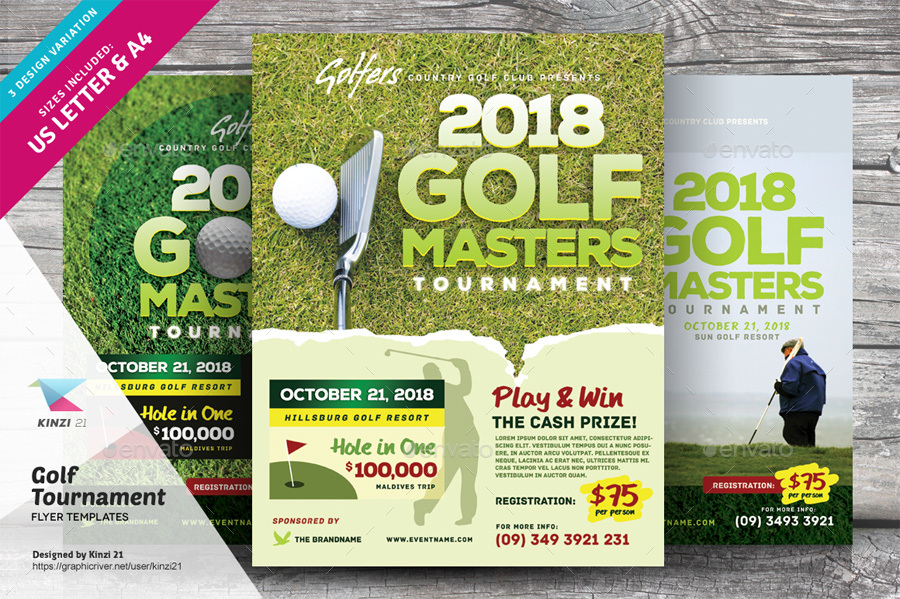 Golf tournament flyer templates by kinzi21 graphicriver for Golf tournament program template