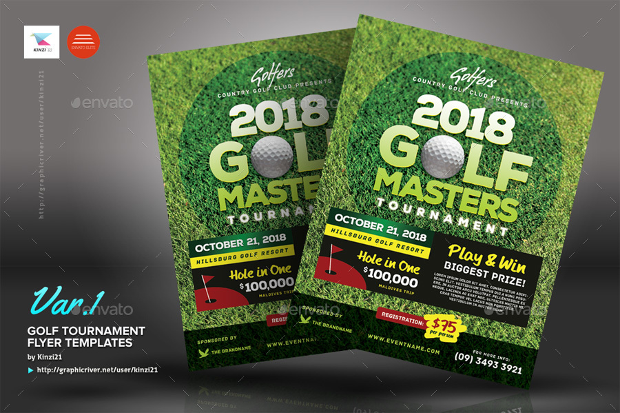 Golf Tournament Flyer Templates By Kinzi  Graphicriver