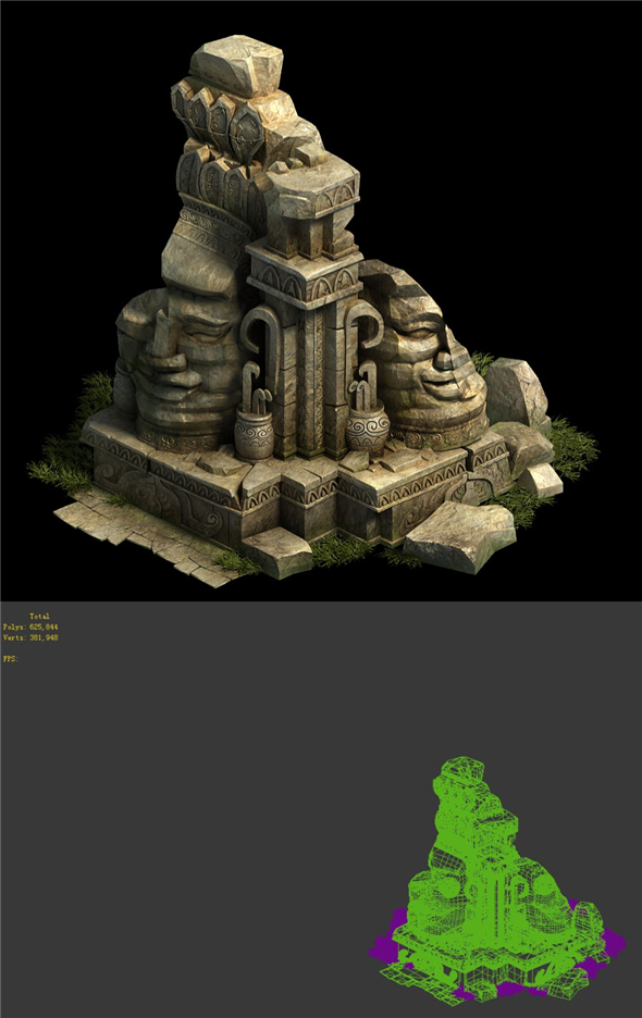Game Model - Kashayana Buddha Forest Debris Broken 3 - 3DOcean Item for Sale