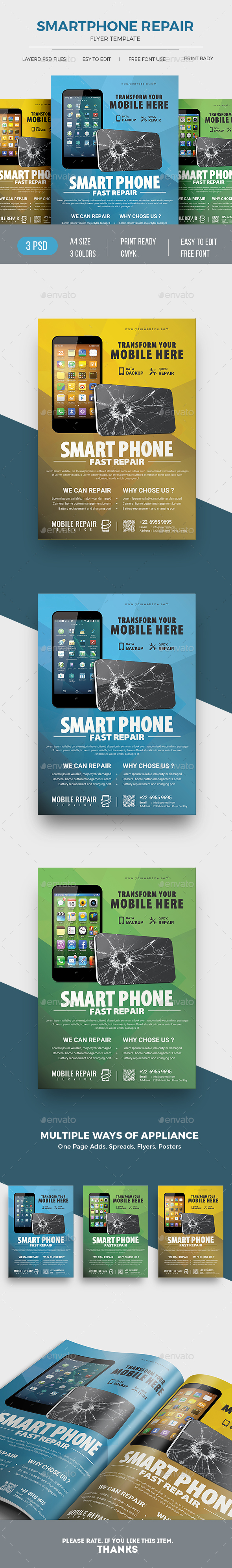 Smartphone Repair Service Flyer - Commerce Flyers