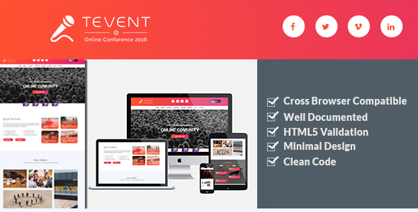 Tevent – Event Conference & Meetup HTML Template