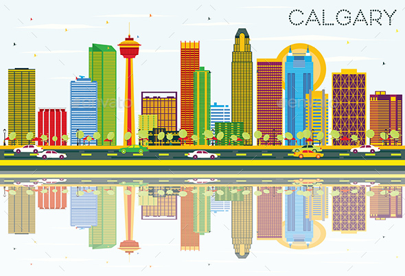 Calgary Skyline with Color Buildings, Blue Sky and Reflections. - Buildings Objects