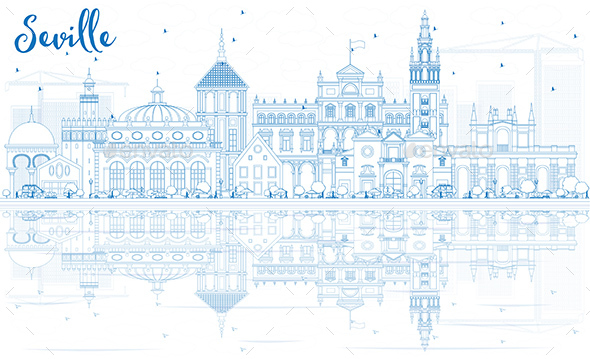 Outline Seville Skyline with Blue Buildings and Reflections. - Buildings Objects