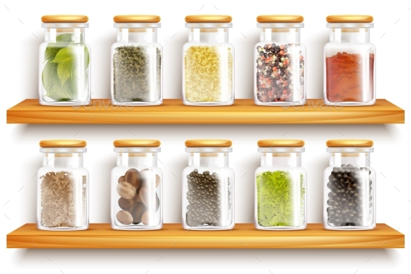 Herbs Spices Set Composition - Food Objects