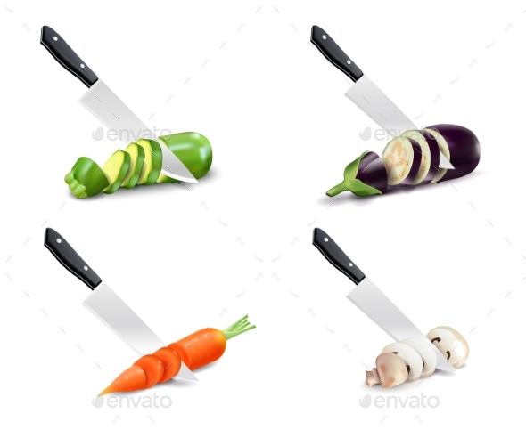 Kitchen Knife and Vegetable 3D Set - Food Objects
