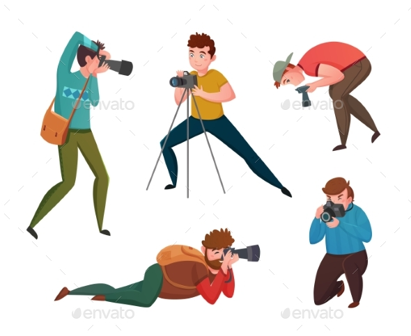 Male Photographer in Different Poses - People Characters
