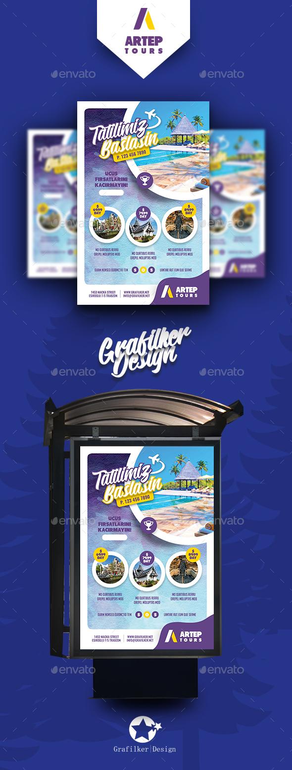 Travel Tour Poster Templates - Signage Print Templates