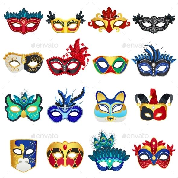 Venetian Carnival Masks Set - Objects Vectors