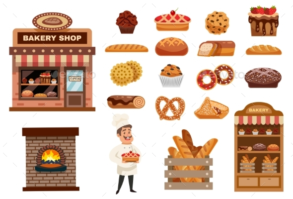 Bakery Icons Set - Objects Vectors