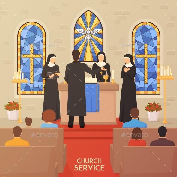 Church Service Religious  Ceremony Flat Banner - Religion Conceptual