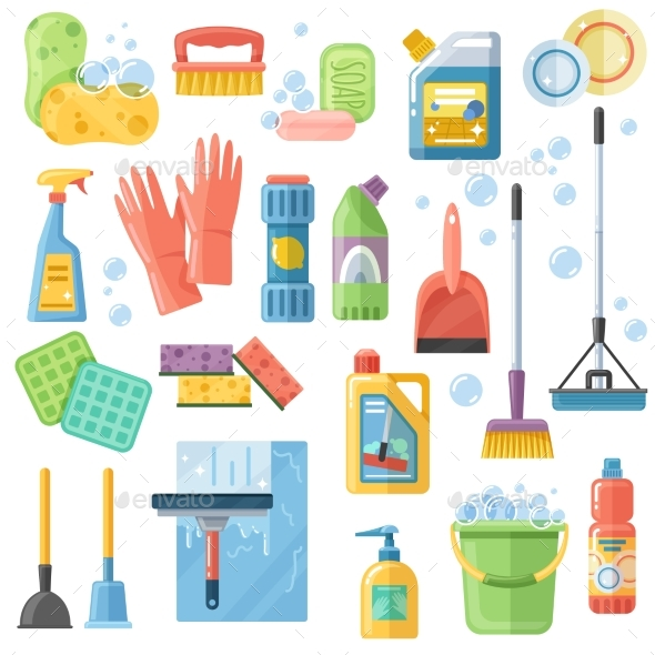 Cleaning SuppliesTools Flat Icons Set - Objects Vectors