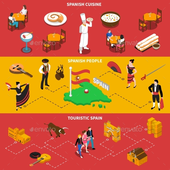 Spain Horizontal Banners Set - Food Objects