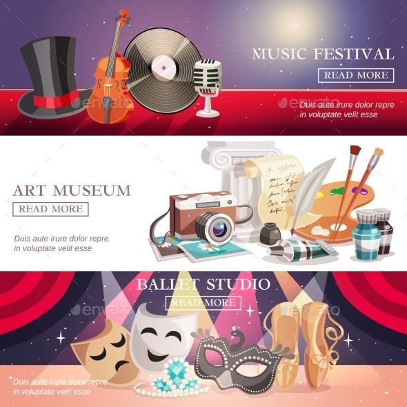 Arts Horizontal Banners Set - Miscellaneous Vectors
