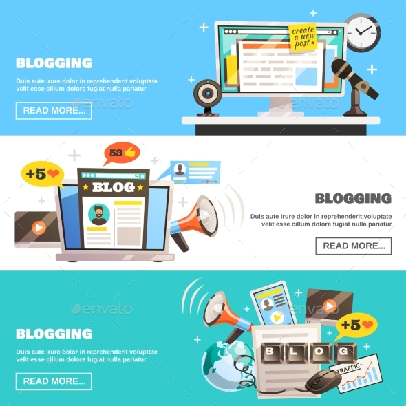 Blogging Horizontal Banners Set - Computers Technology