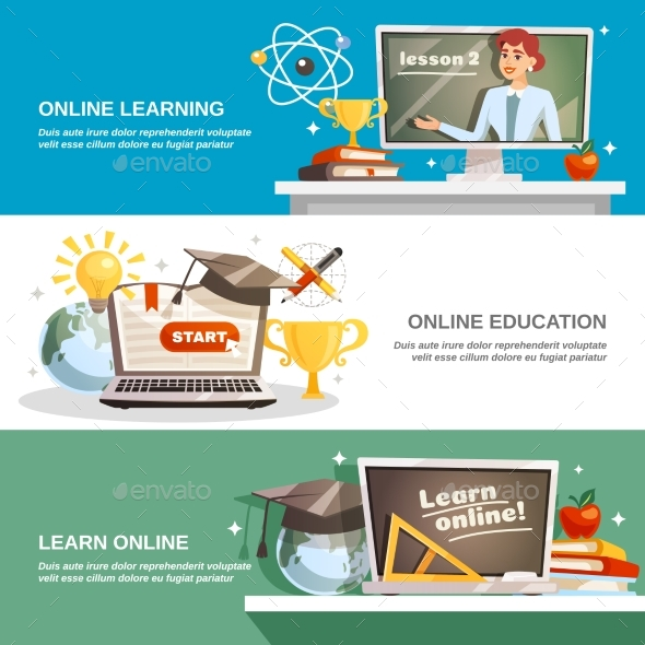 Online Education Horizontal Banners - Backgrounds Decorative
