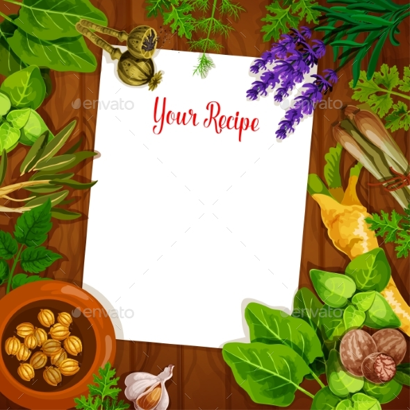Herbs and Spices with Blank Recipe Page - Food Objects