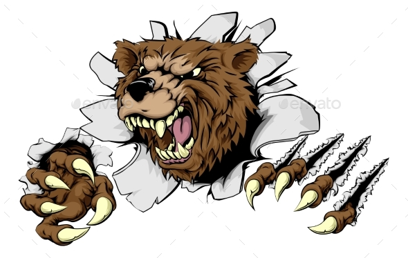 Bear Ripping Through Background - Animals Characters