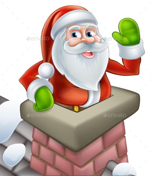 Santa in Chimney Christmas Cartoon - Christmas Seasons/Holidays