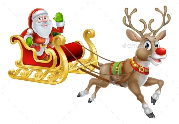Santa Christmas Sleigh Sled - Animals Characters