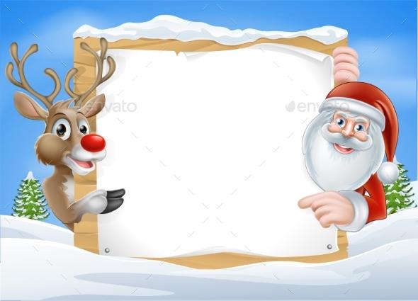 Christmas Reindeer and Santa Sign - Christmas Seasons/Holidays