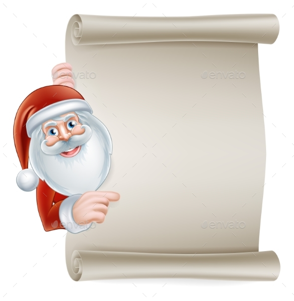 Cartoon Santa Scroll Sign - Christmas Seasons/Holidays