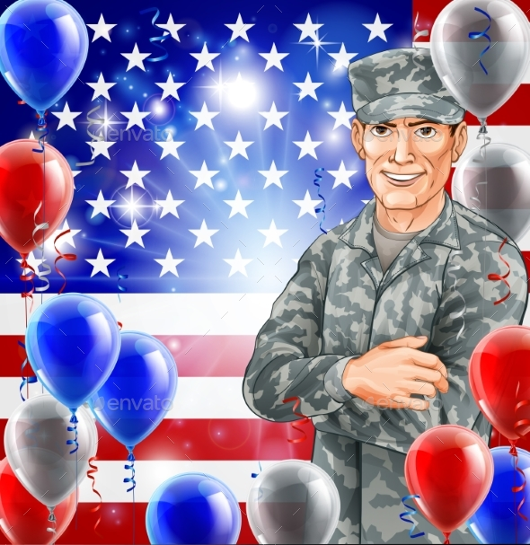 USA Soldier Illustration - Backgrounds Decorative