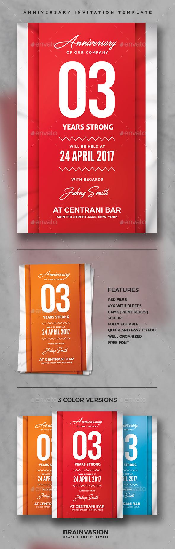 Anniversary Invitation Template - Anniversary Greeting Cards