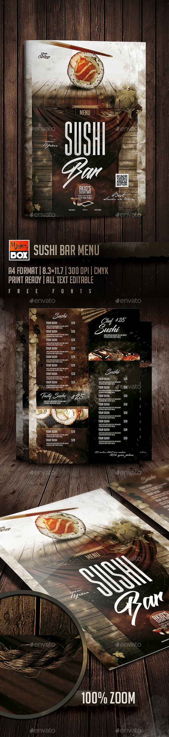 Sushi Bar Menu - Food Menus Print Templates