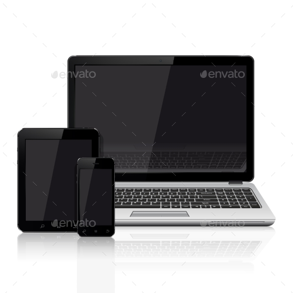 Modern Laptop, Mobile Phone, Tablet on White - Computers Technology