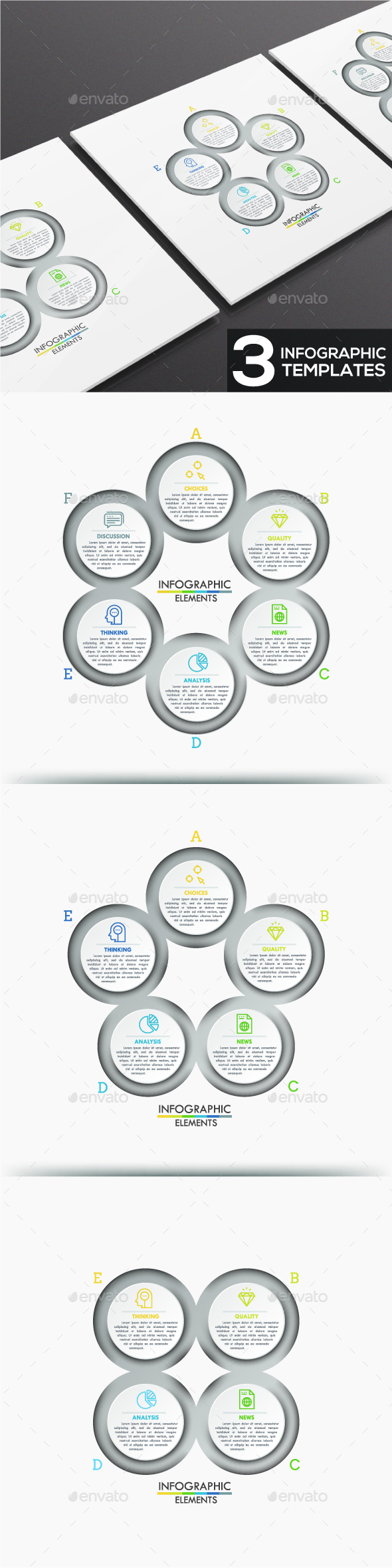 Modern Infographic Circles Templates (3 Items) - Infographics