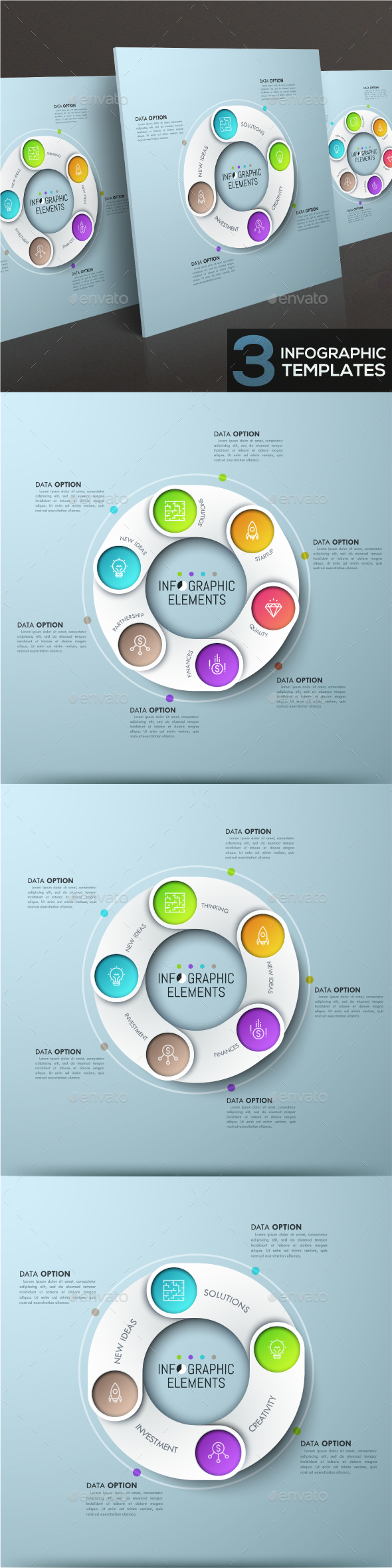 Modern Infographic Ribbons Templates (3 Items) - Infographics