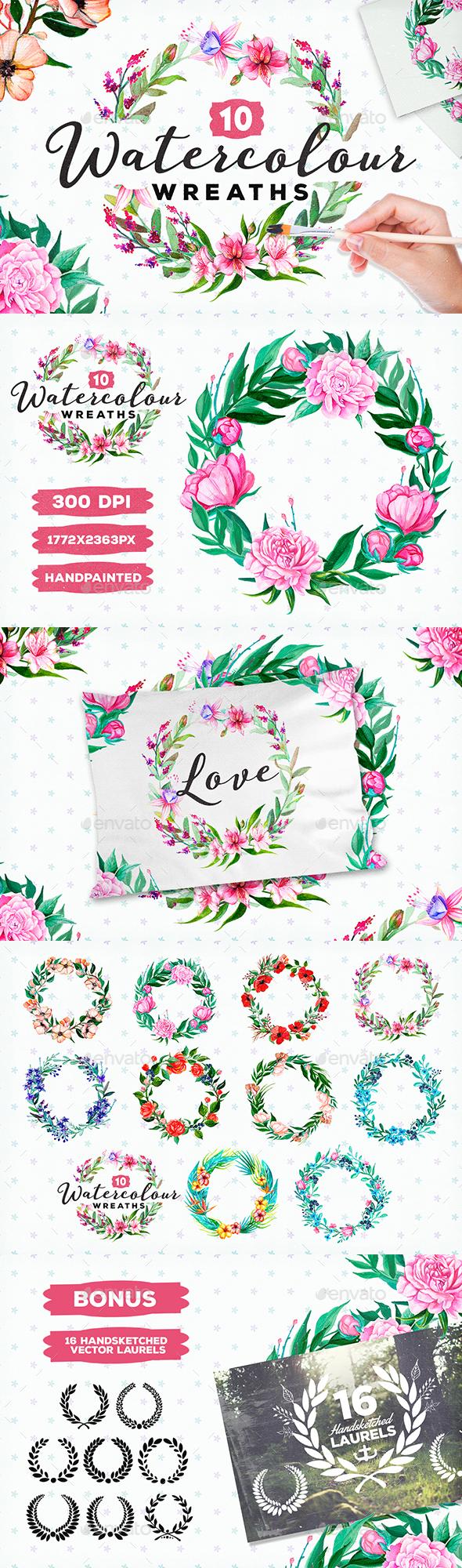 10 Handpainted Watercolour Wreaths - Flourishes / Swirls Decorative