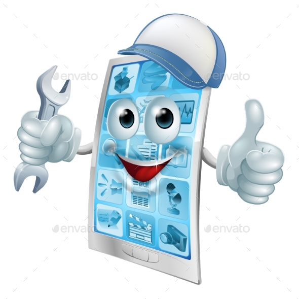 Phone Repair Cartoon Character - People Characters