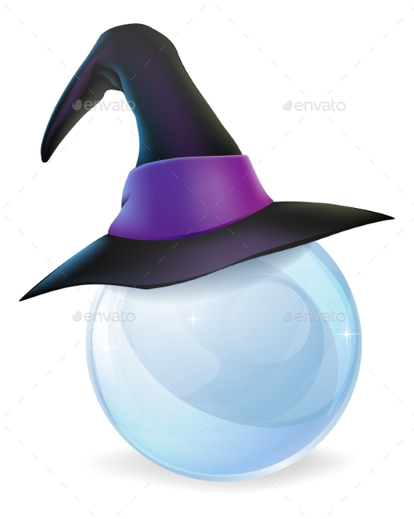 Crystal Ball and Witches Hat - Backgrounds Decorative