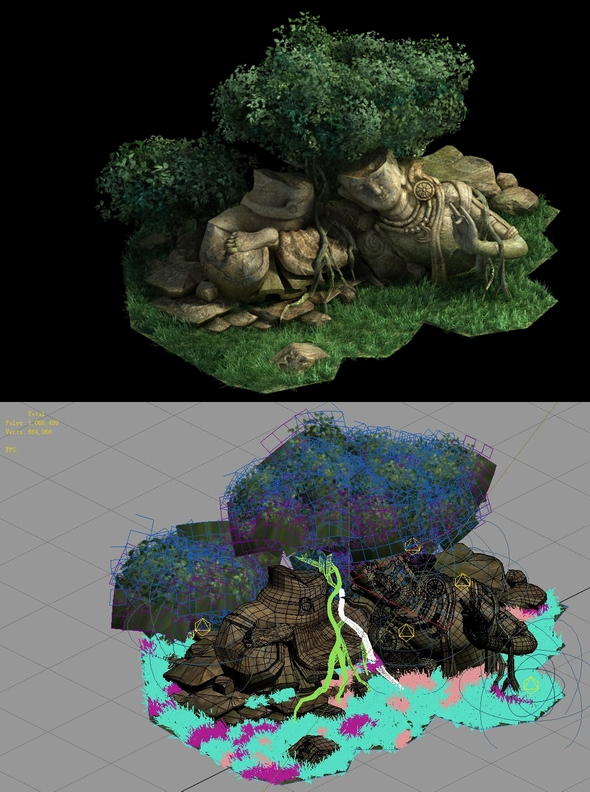 Game Model - Kasai Buddha Traces forest Broken Statue of the Emperor 03 - 3DOcean Item for Sale