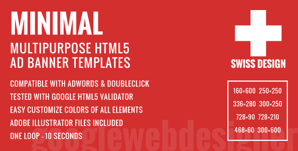 Swiss Design - Minimal Multipurpose HTML5 Ad Banner Templates - CodeCanyon Item for Sale