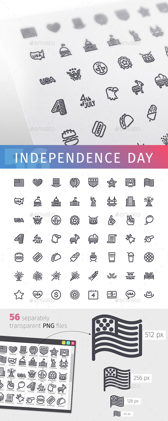 USA Independence Day Line Icons Set - Objects Icons