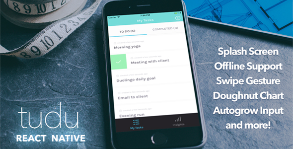 Tudu - A React Native todo-list - CodeCanyon Item for Sale