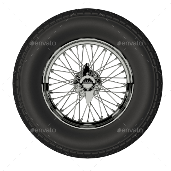 Automotive Wheel Isolated on White. 3D Render - Objects 3D Renders