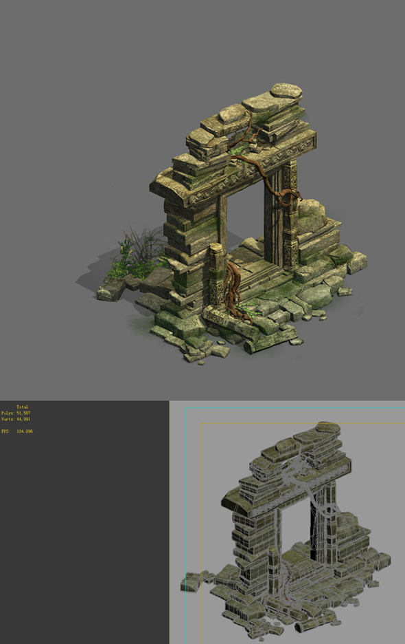Game Model - Kashayana Buddha in the ruins of the forest 3 - 3DOcean Item for Sale