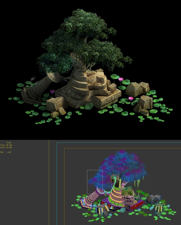 Game Model - Kashayana Buddhist Forest Broken Water Pagoda - 3DOcean Item for Sale