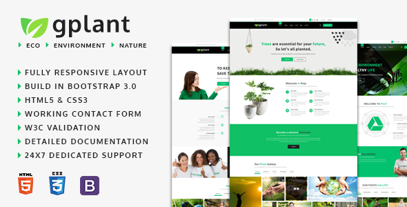 gPlant – Multipurpose ECO, Natural & Environmental HTML Template